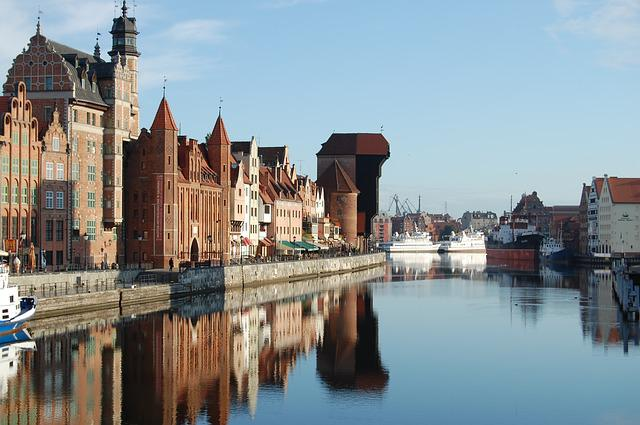 Gdańsk, Motlawa, Old Town, Architecture, Tourism