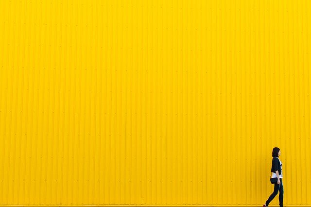 Yellow, Wall, Building, Architecture, Girl, Woman