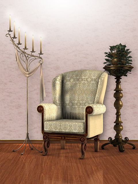Interior, Room, Render, Chair, Armchair, Vintage, Light