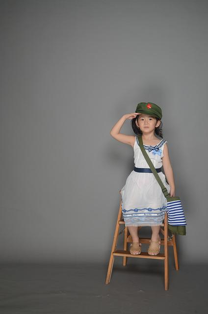 Cute, Military Cap, Army Backpack, Child, Girls, Studio