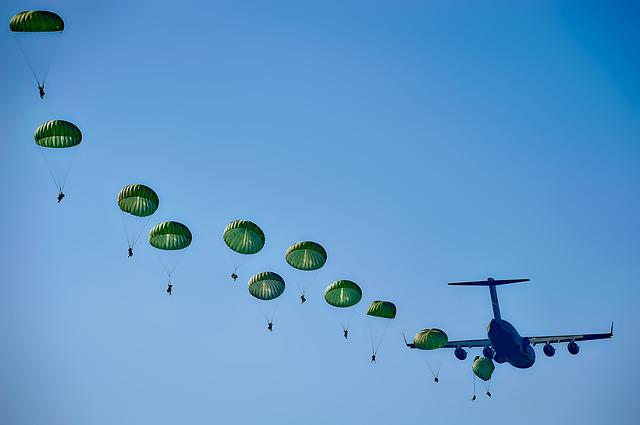 Army, Rangers, Parachuting, Jumping, Aircraft, Airplane