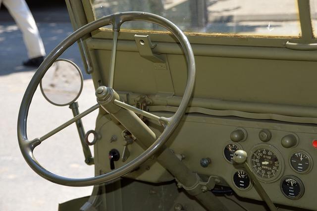 Car, Army, Khaki, Vehicle, Steering Wheel, Former
