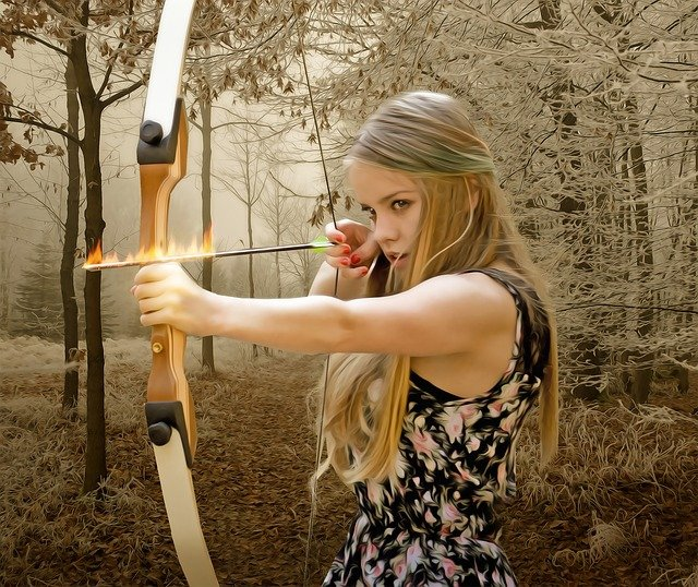Woman, Female, Archer, Young, Beauty, Arrow, Bow