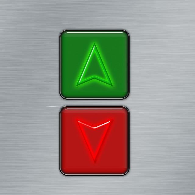 Button, On, From, Below, High, Arrow, Upward, Down