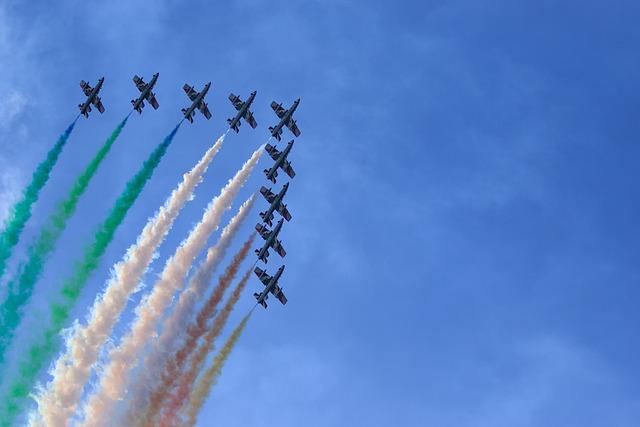 Sky, Outdoors, Airplane, Flight, Blue Sky, Arrows