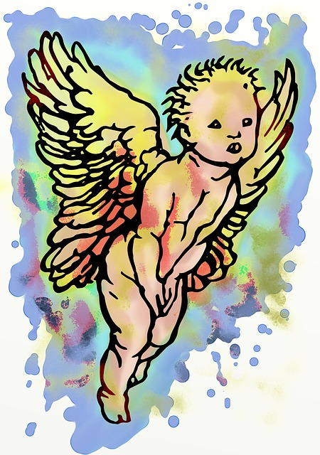 Painted, Artistic, Cherub, Vintage, Art, Wings, Angelic