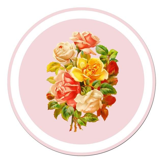 Roses, Vintage, Sticker, Flowers, Bunch, Art, Antique