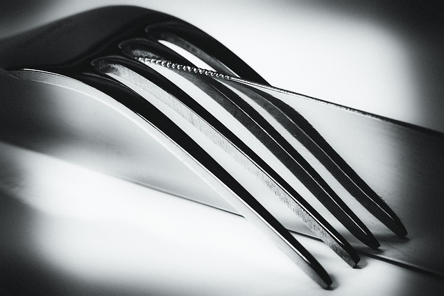 Knife, Fork, Mirroring, Black, White, Art