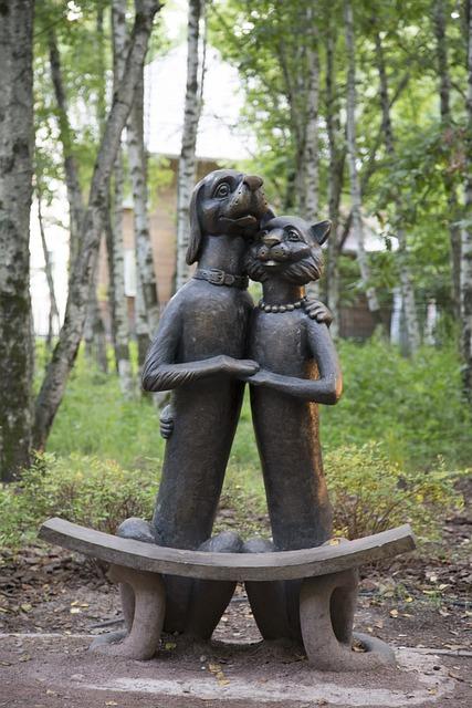 Monument, Sculpture, Art, Iron, Dog, Cat, Black