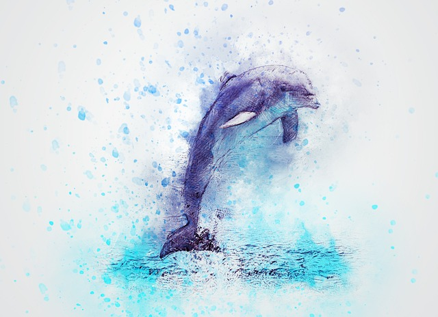 Dolphin, Jump, Animal, Art, Abstract, Vintage
