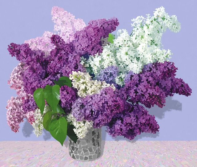 Art, Painting, Lilac, Flowers, Arrangement, Vase