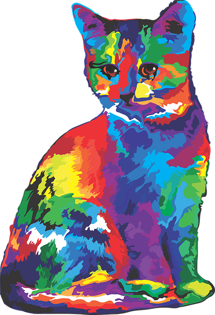 Cat, Rainbow, Colorful, Art, Graphic Art