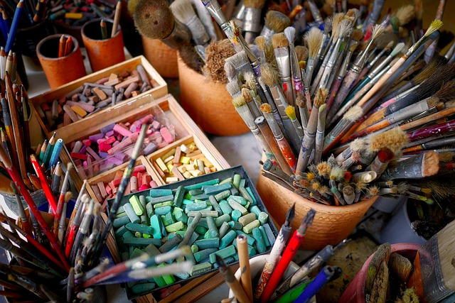Brushes, Chalks, Colorful, Art Materials, Art Supplies