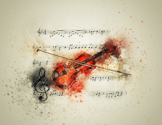 Violin, Music, Notes, Art, Abstract, Watercolor