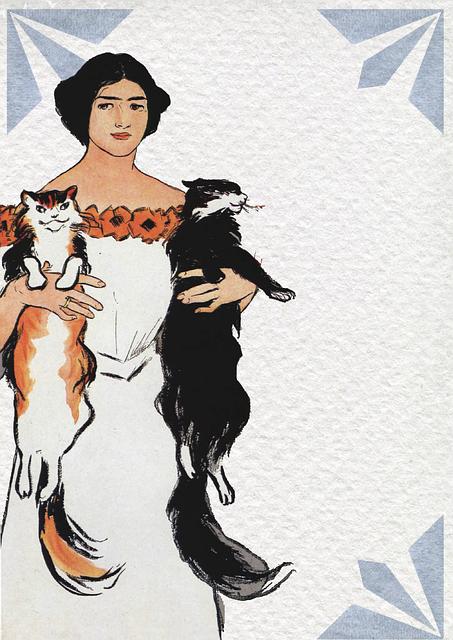 Art Nouveau, Vintage, Woman, Cats, Pets, Animal