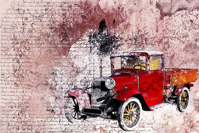 Car, Old Car, Red, Art, Abstract, Artistic, Watercolor