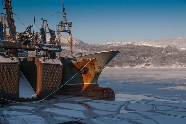 Norway, Lapland, Kirkenes, Port, Ice Floe, Artic Ocean