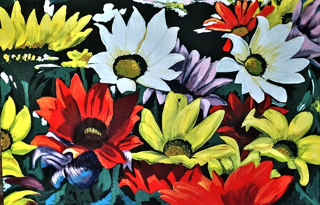Painted Daisies, Acrylic Paint, Bold, Artistic, Canvas