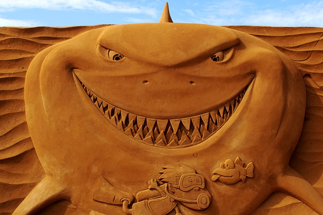 Sand Sculpture, Sand, Art, Oostende, Shark, Artwork