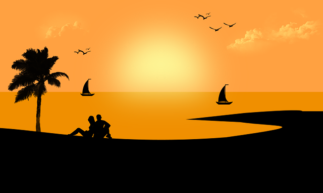 Digital Art, Artwork, Sunset, Landscape, Romantic