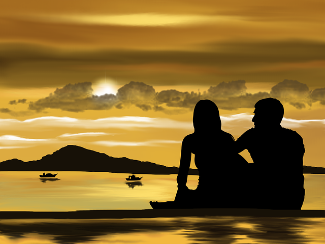 Digital Art, Artwork, Together, Couple, Beach, Romantic