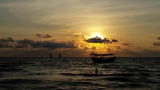 Cambodia, Asia, Sihanoukville, Sea, Beach, Clouds, Sun