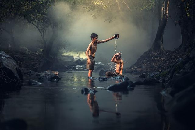 Asia, Boys, Creek, Washing, Cambodia, Kids, Enjoy