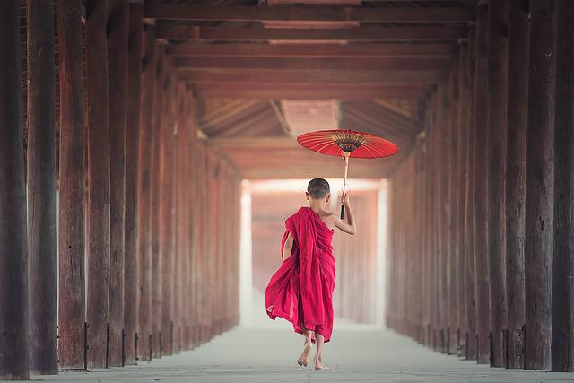 Umbrella, Buddhism, Monk, Monastery, Asia, Boy