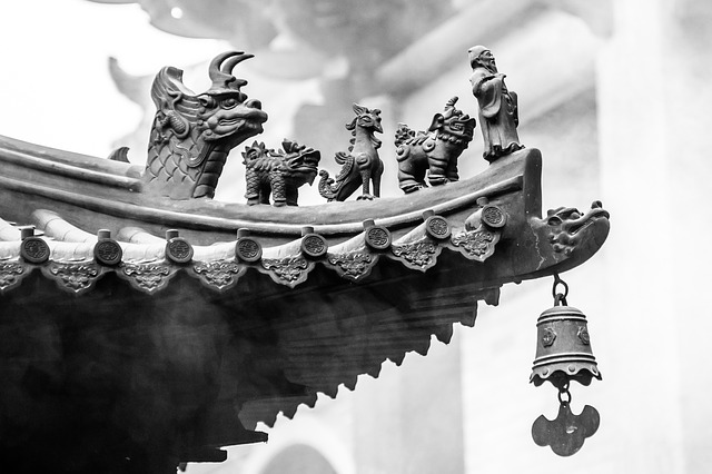 China, Roof, Figures, Brick, Palace, Temple, Asia