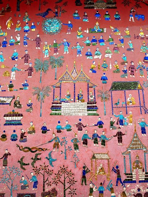 Wall Painting, Luang Prabang, Laos, Phabang, Asia