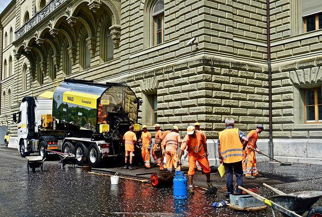 Bitumen, Asphalt, Construction, Road, Street, Workers