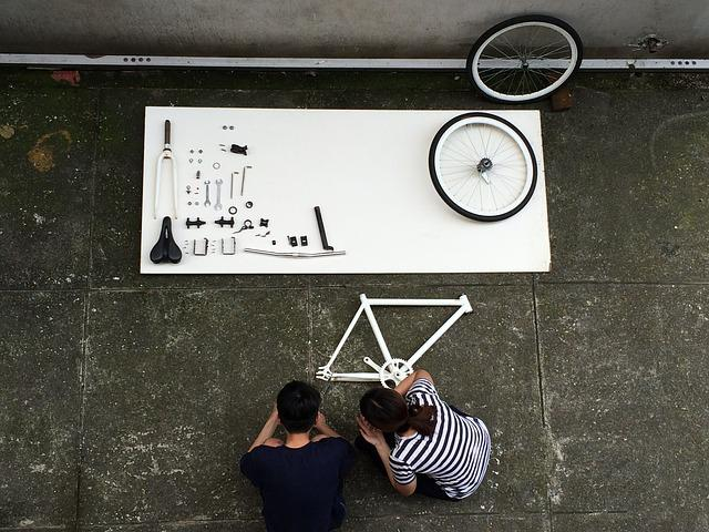 Assembling A Bicycle, Component, Bike, Top View