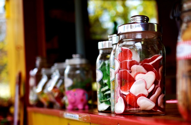 Candies, Jars, Candy Jars, Assorted Candies, Glass Jars