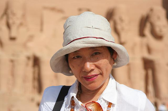 Japanese, Woman, Egypt, Aswan, Abu Simbel, Nile, River