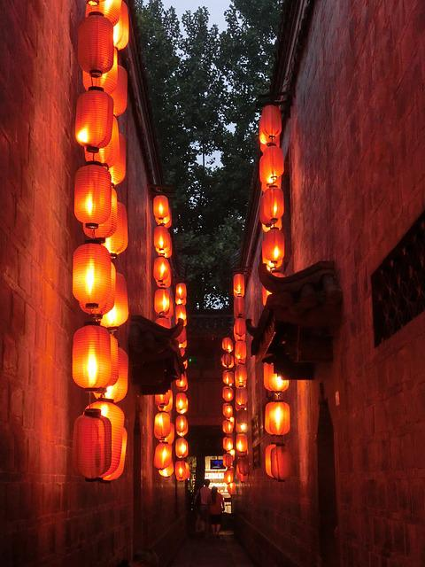 Lanterns, Small Alley, Red Lantern, At Dusk, Valentine