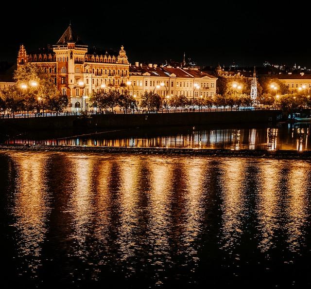 Prague, Moldova, Lights, River, Mood, At Night