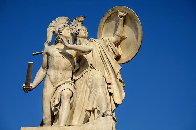Monument, Greek Gods Figures, Athena, Protected, Held