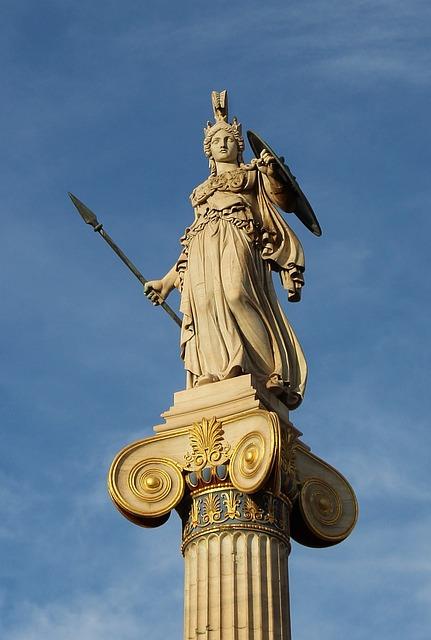 Athene, Statue, Athene-pillar, Athens, Greek Goddess