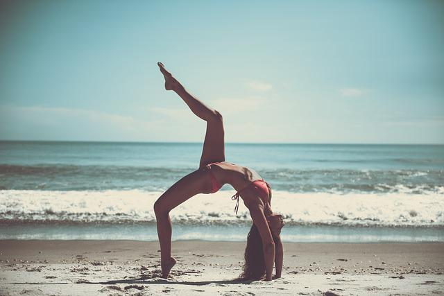 Beach, Yoga, Athlete, Sportive, Skinny, Slim, Ocean