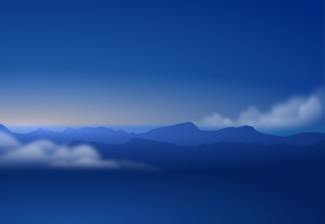 Sky, Blue, Clouds, Mountains, Dark, Evening, Atmosphere