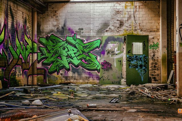 Lost Places, Space, Hall, Graffiti, Atmosphere, Past