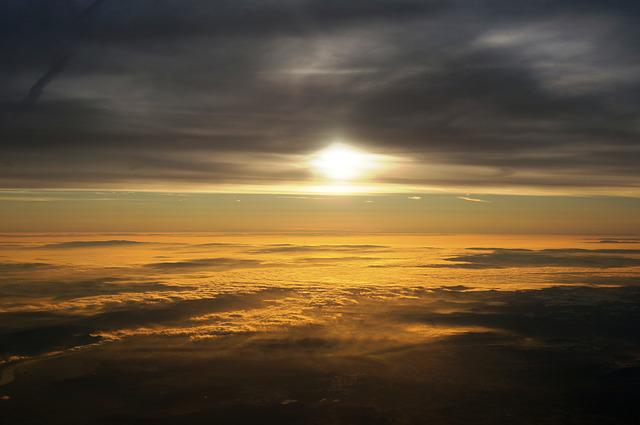 Sky, Clouds, Sun, From Above, Horizon, Mood, Atmosphere