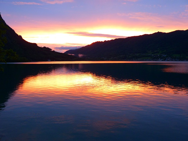 Sunset, Abendstimmung, Lake, Water, Clouds, Attersee