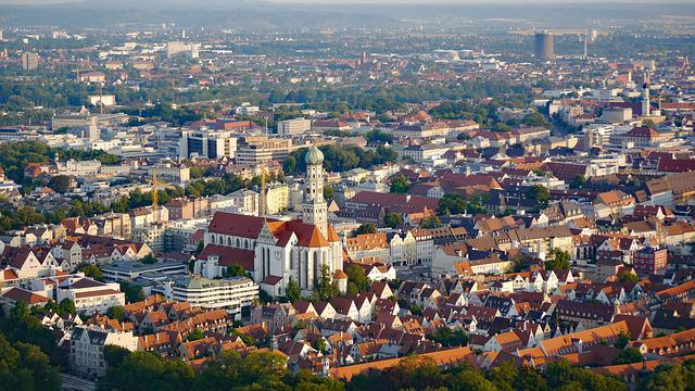 Augsburg, Aerial View, Downtown