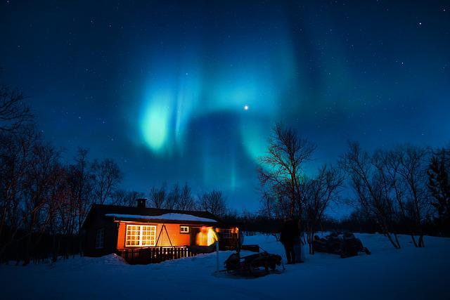 Aurora Borealis, Blue, Cabin, Cold, Lights, Night