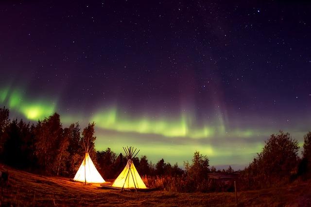 Teepees, Camp, Campsite, Aurora Borealis