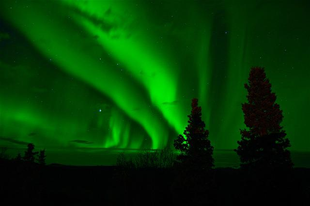 Aurora Borealis, Northern Lights, Green, Night