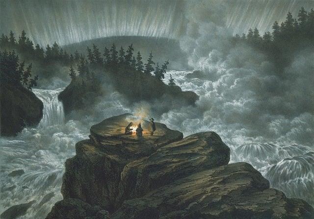 Waterfall, Carl Svante Hallbeck, Lithograph, Aurora