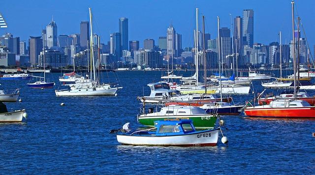 City, Melbourne, Australia, Cityscape, Sky, Water