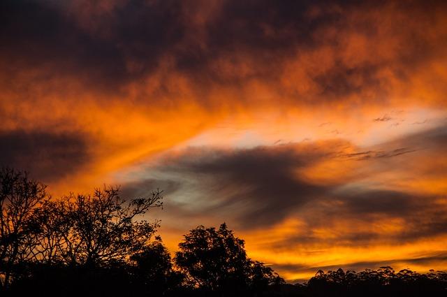 Sunset, Sky, Clouds, Orange, Grey, Dramatic, Australia